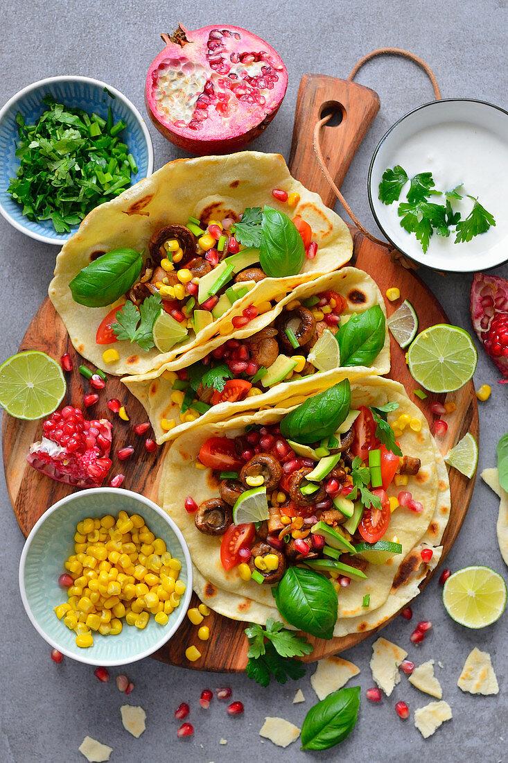 Tortilla tacos, vegetarian version