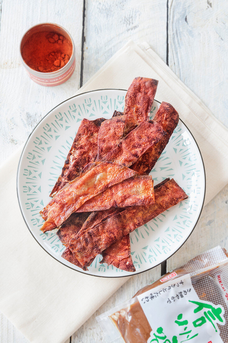 Vegan bacon made from rice paper, miso paste, smoke flavor and smoked paprika powder