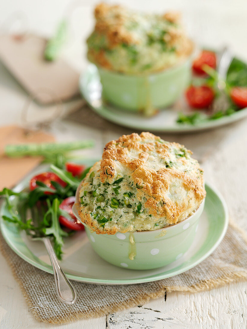 Herbed asparagus souffles with spring onions