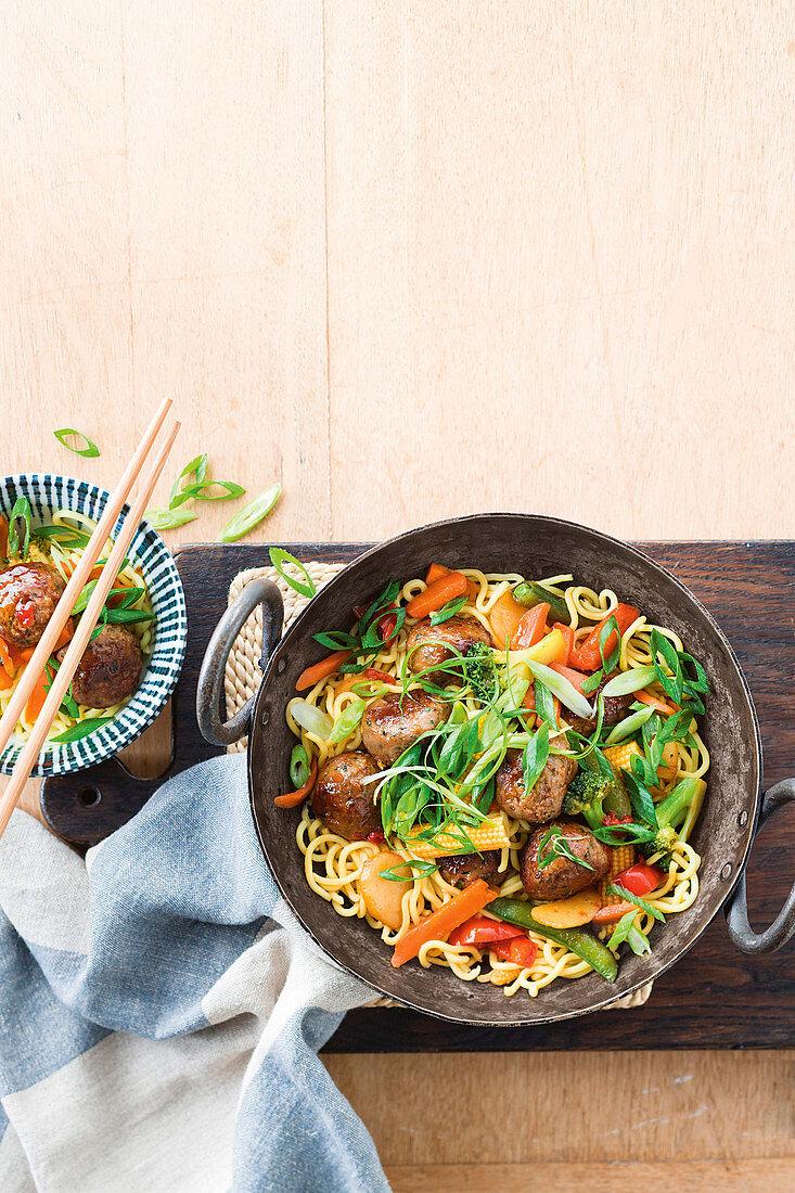 15-minute honey-soy meatball stir-fry