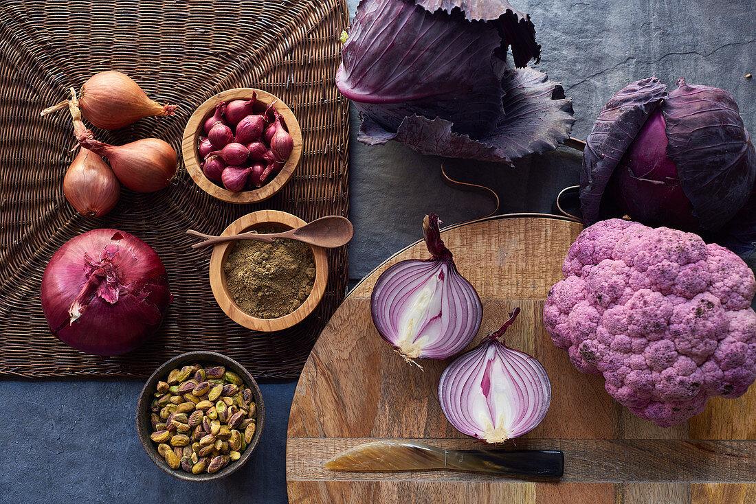 Various purple vegetables
