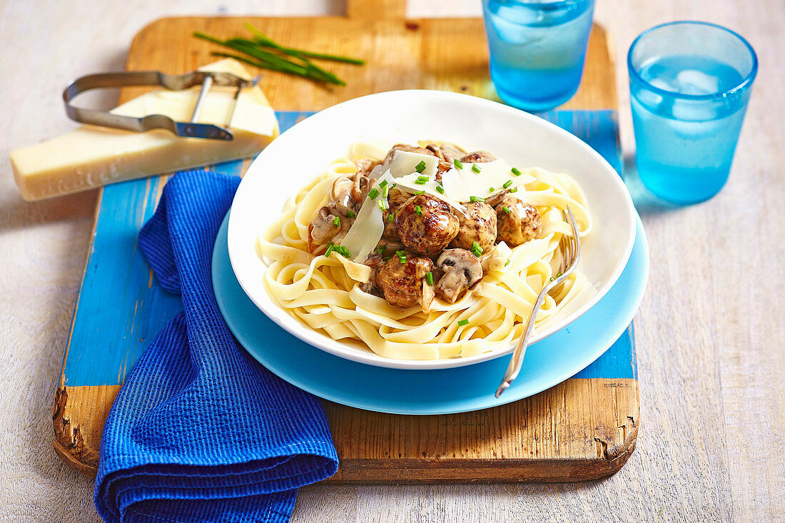 Creamy Fettucine with Meatballs