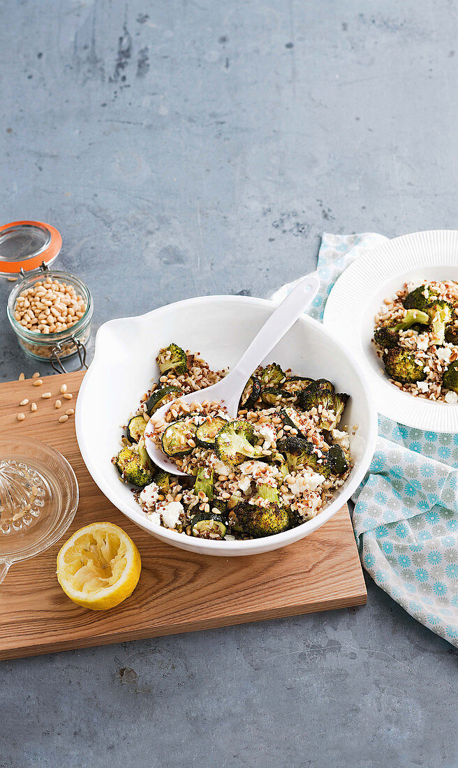 Roasted broccoli salad with brown rice and quinoa