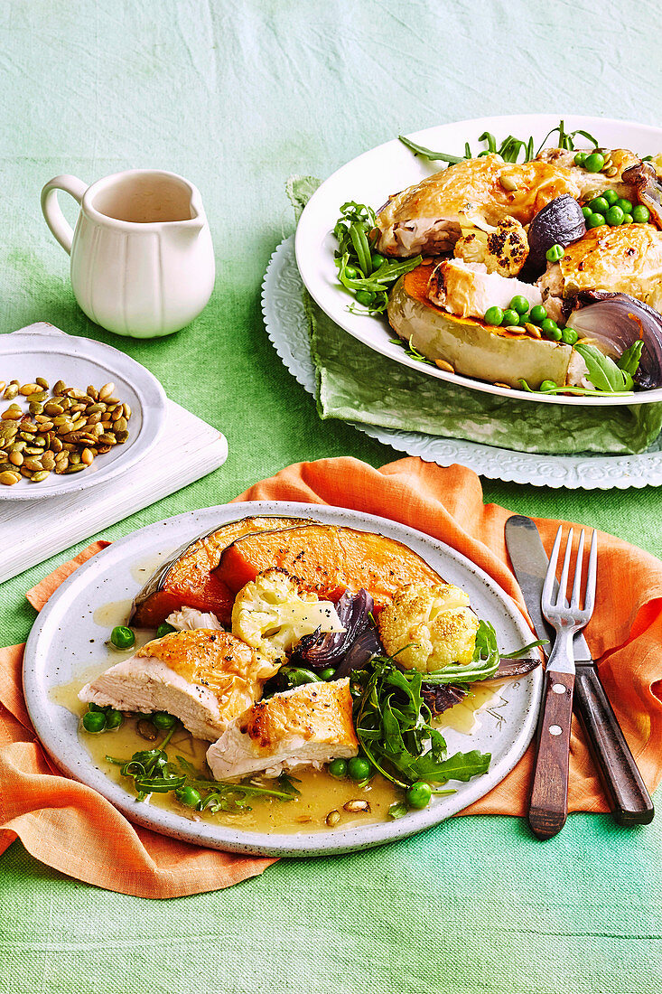 Roased chicken and pumpkin salad