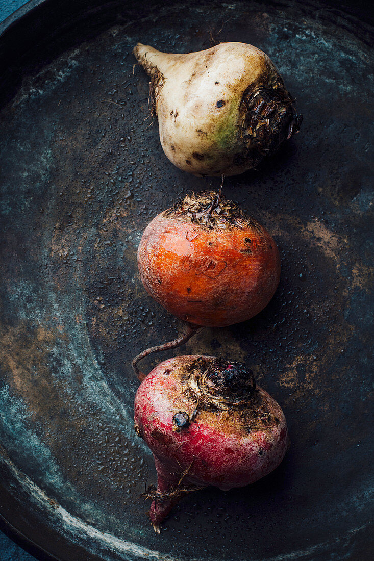Red beet, yellow beet and white beet