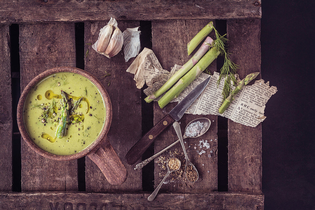 Asparagus Soup: Fresh Asparagus, Dill, Garlic, Chilli Flakes, garlic, mustard seeds, cream, olive oil, shallots, black pepper