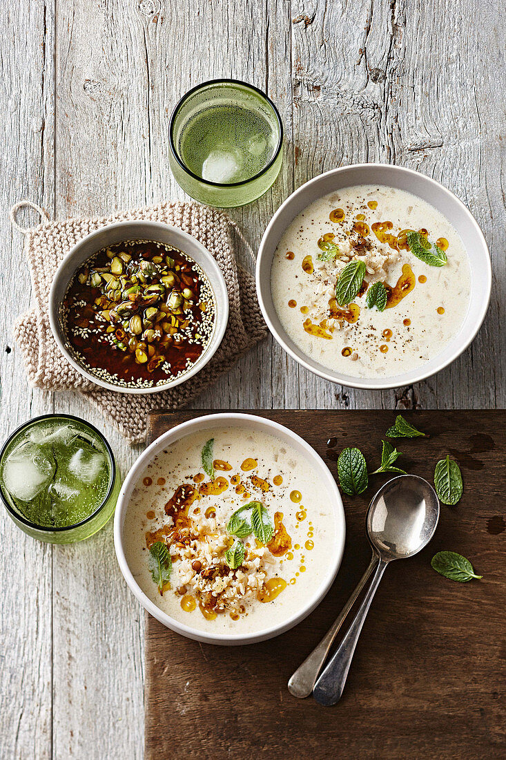Turkish rice and lentil yoghurt soup with dukkah oil