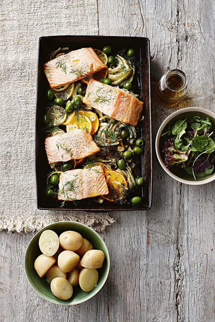 Roasted salmon with fennel, citrus and olives