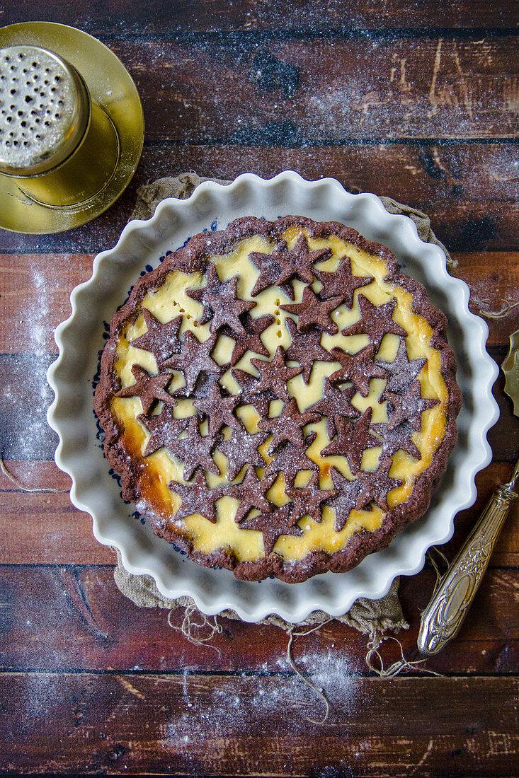 Crostata al cacao with ricotta