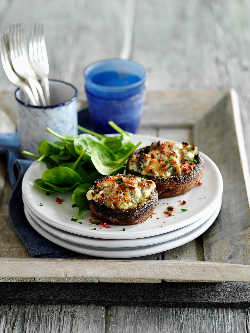 Stuffed mushrooms with cheese, garlic and herbs