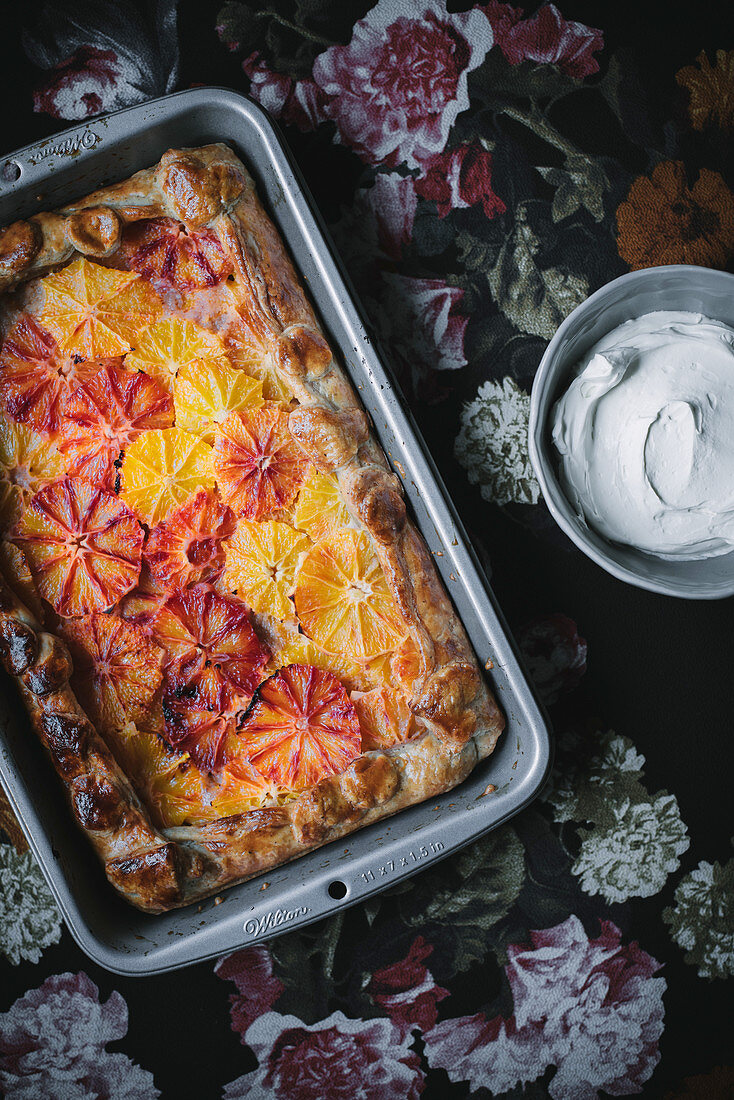 A blood orange tart in an oven tray