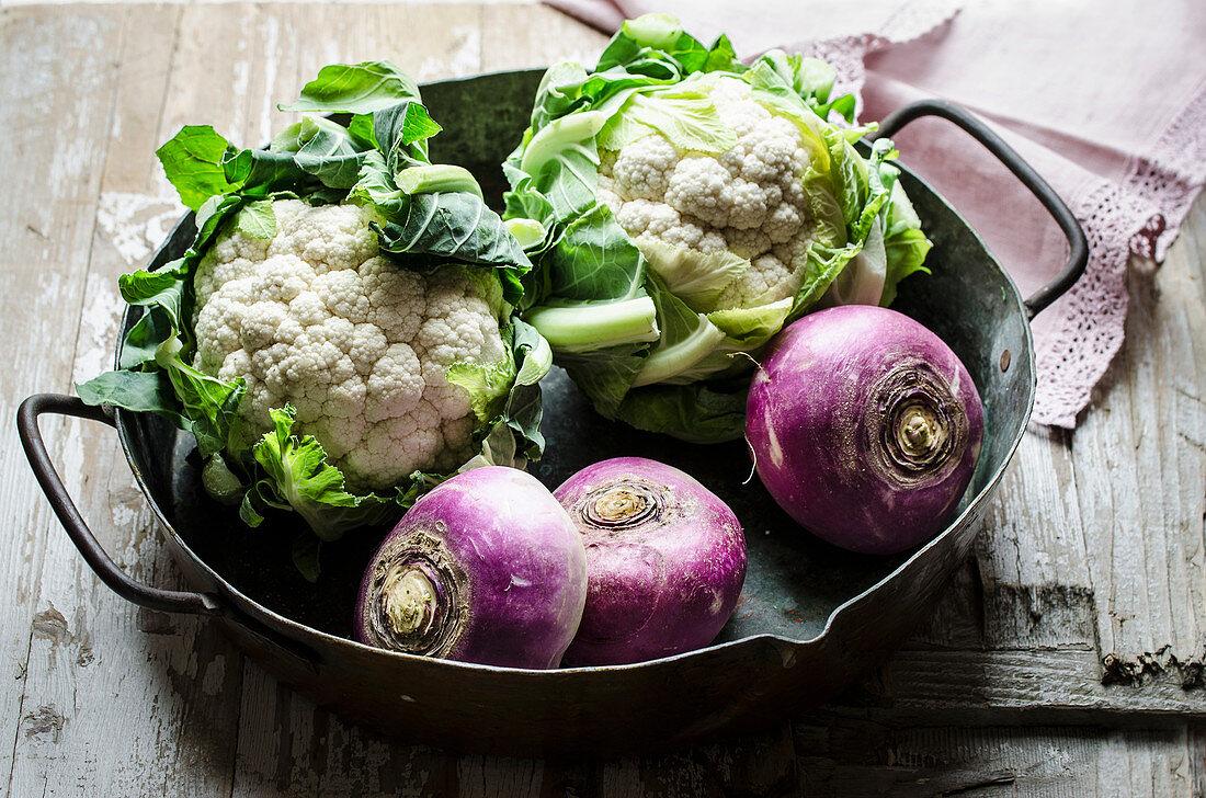 Winter vegetables in a vintage pan