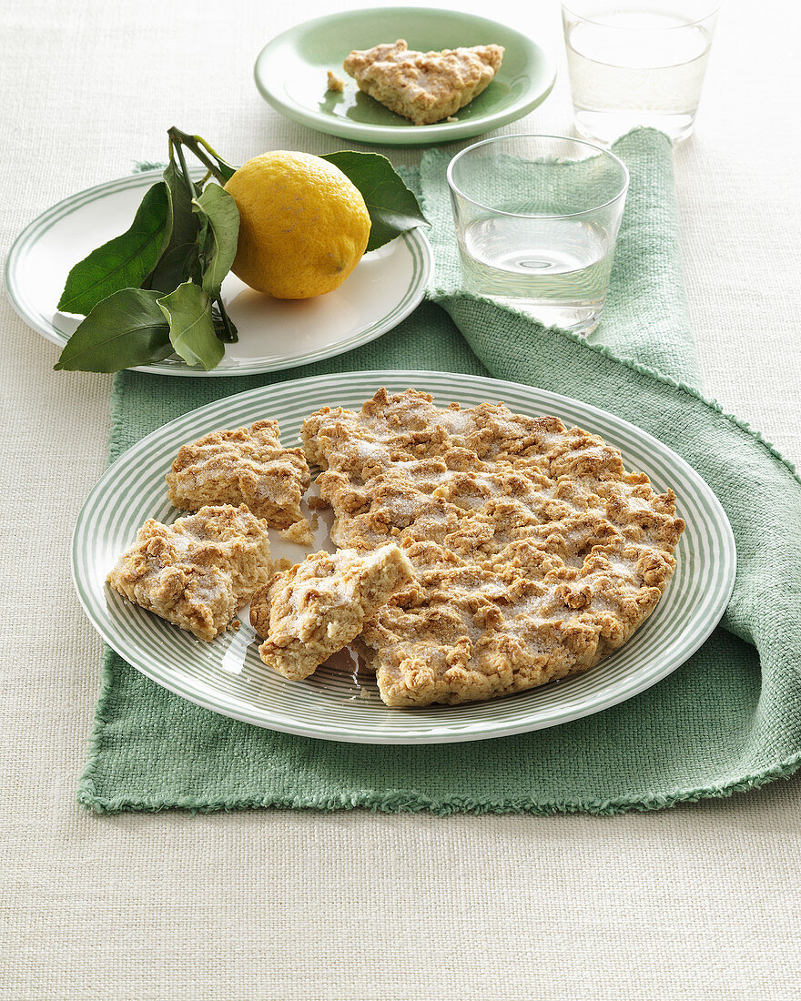 Olive oil and lemon cake from Liguria (Italy)
