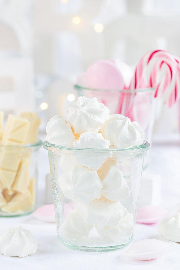 White meringue in a glass