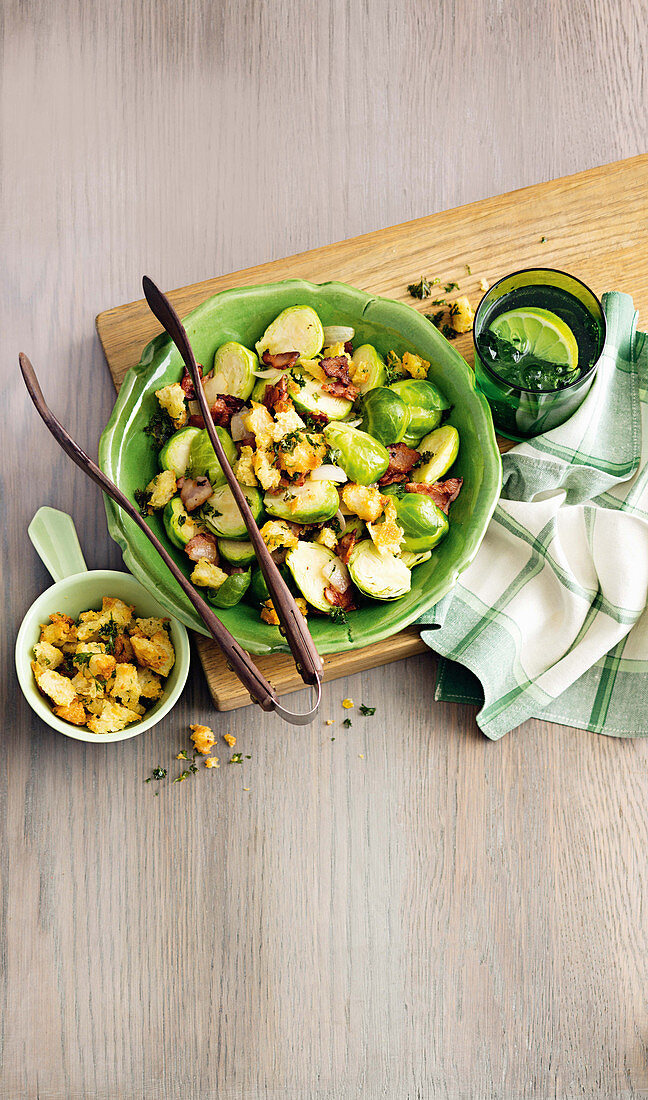 Brussels sprouts with bacon and crunchy garlic crumbs