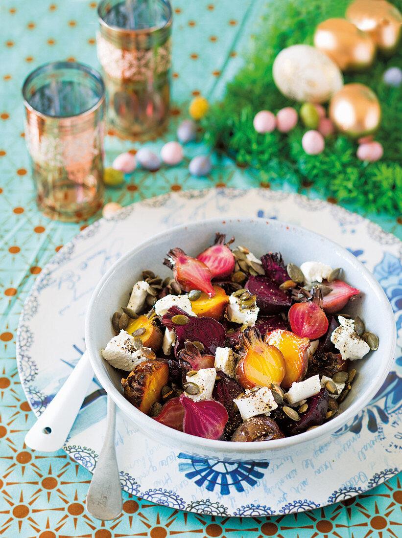 Salt-baked baby beetroot salad
