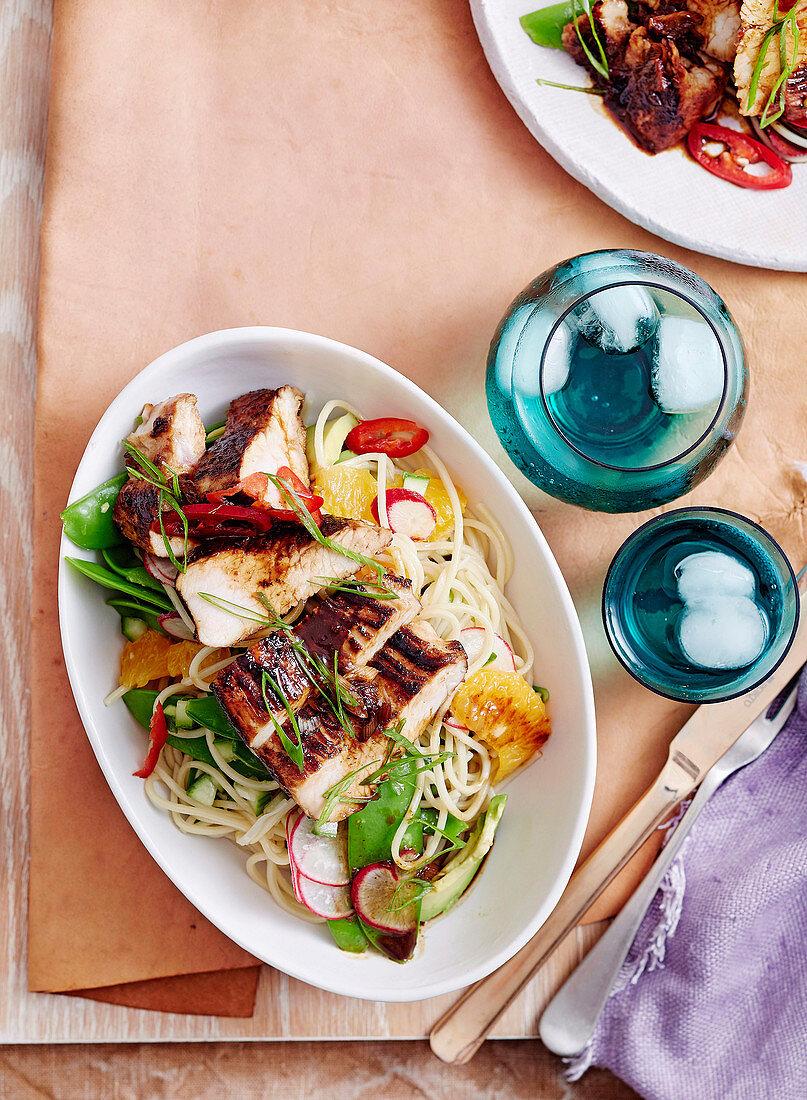 Glazed Turkey with Avocado Noodle Salad