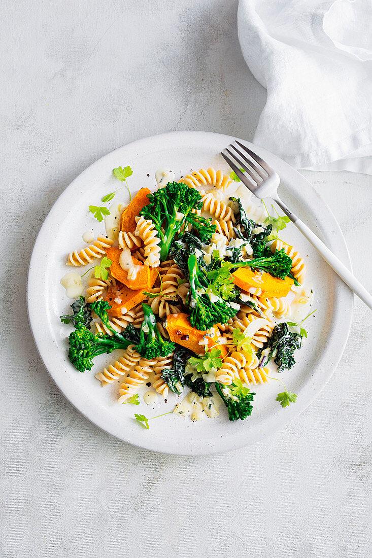 Creamy pumpkin sage, broccolini and kale pasta