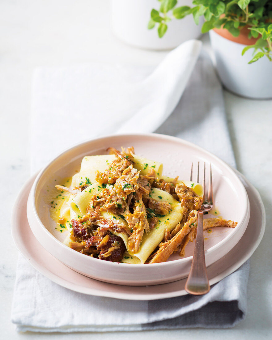 Pulled pork with home-made pappardelle