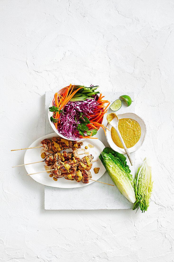 Satay chicken and salad