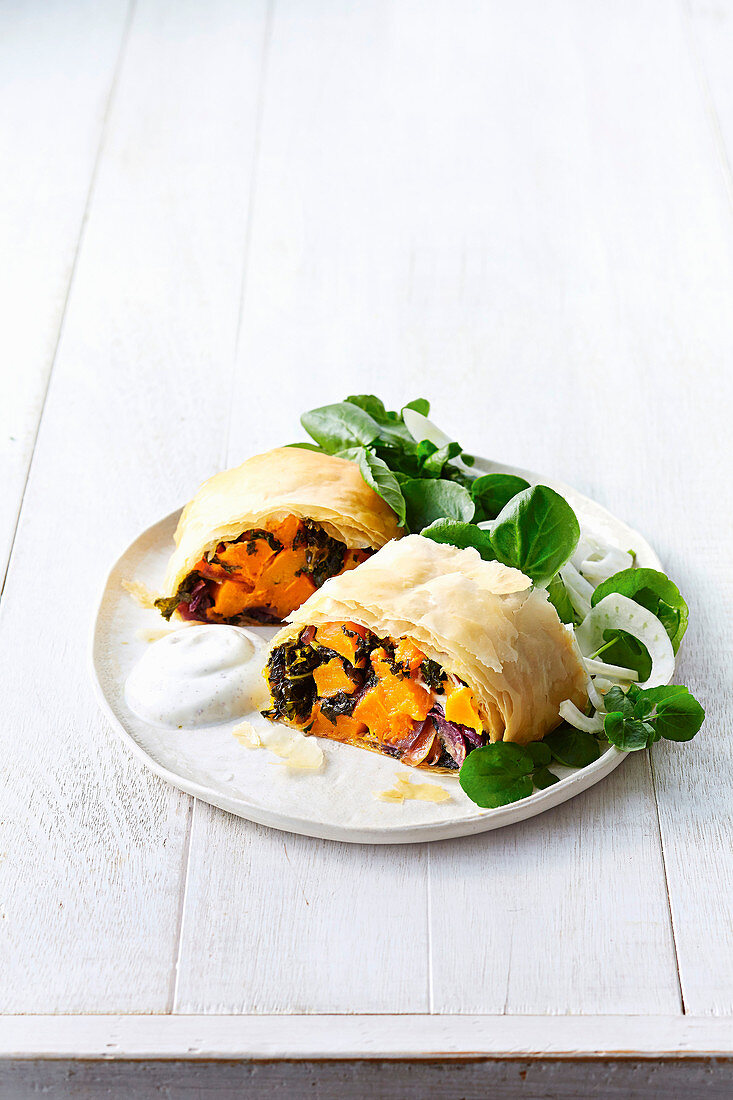 Roast pumpkin and goats cheese parcels