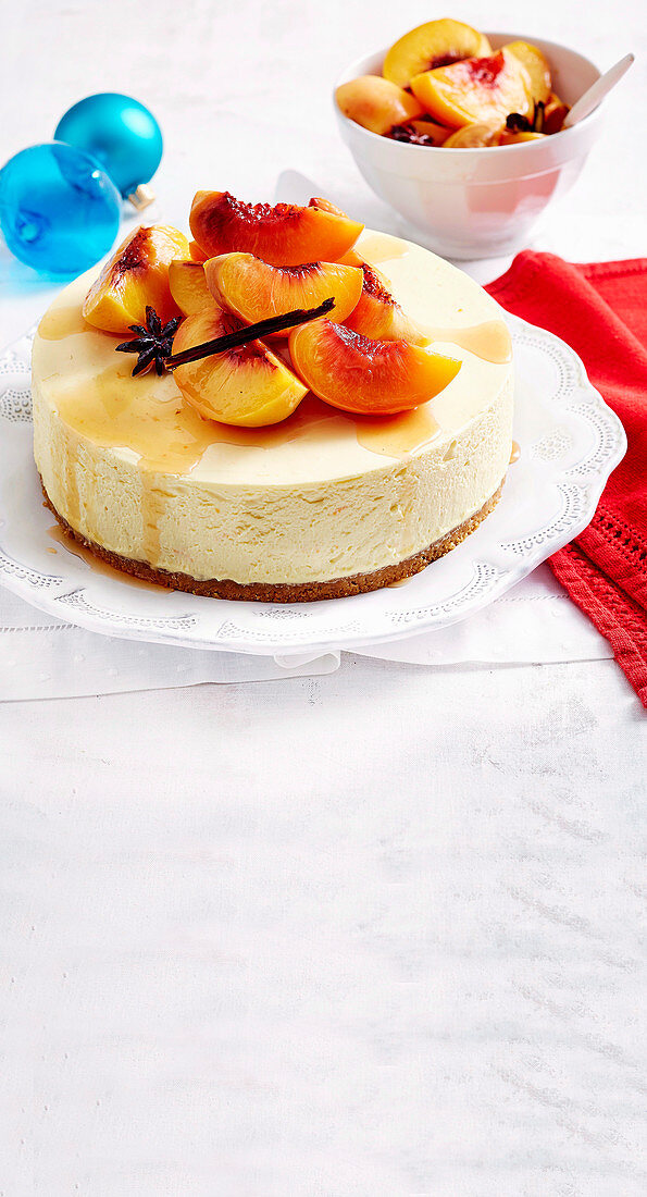 Cheesecake with poached peaches