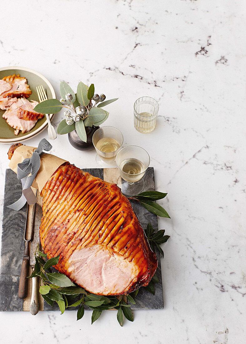 Hot pineapple and ginger beer glazed ham