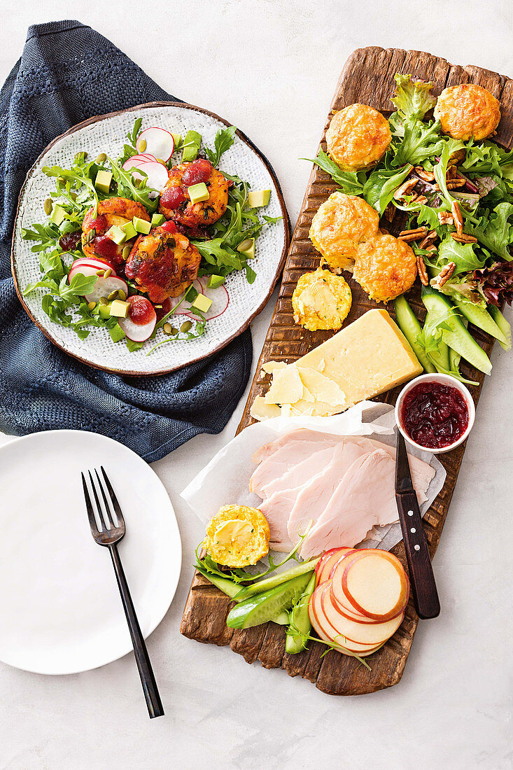 Ploughman's platter with vegetable scones and turkey vegetable patties with cranberry dressing