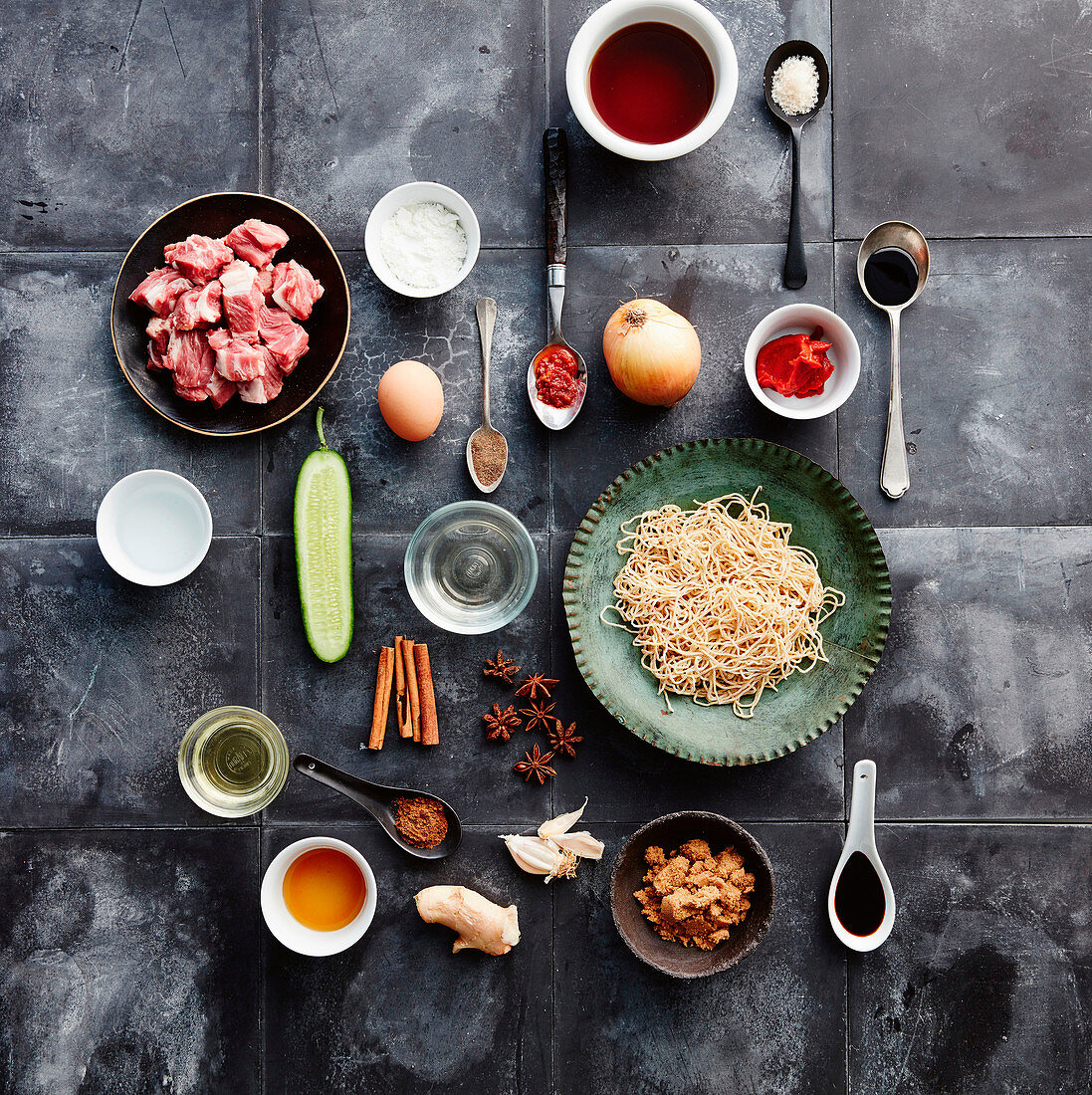 Ingredients for Red Braised Lamb Bowl