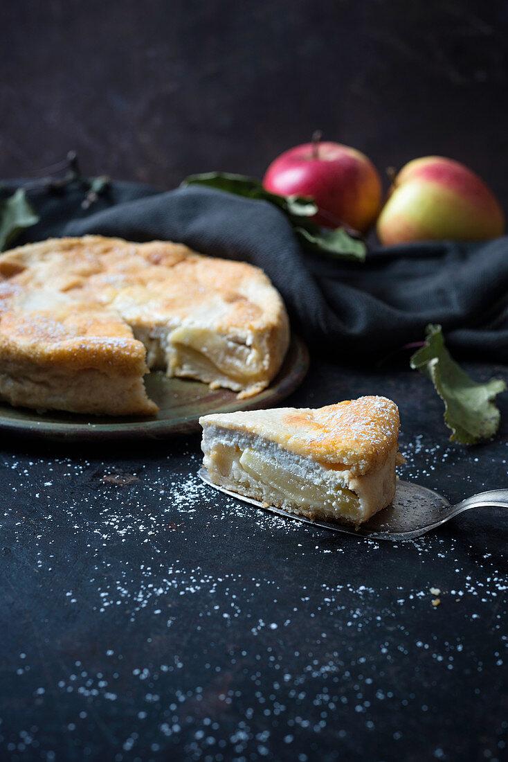 Apple and quark cake (vegan)