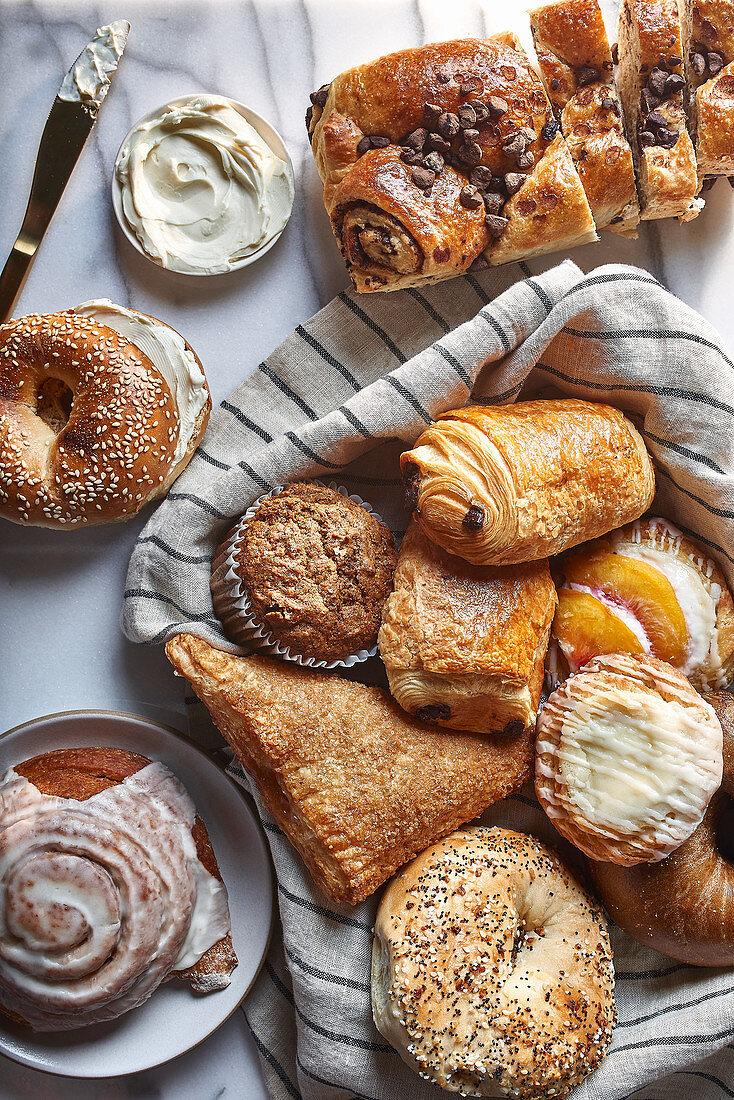 Breakfast pastries and cream cheese
