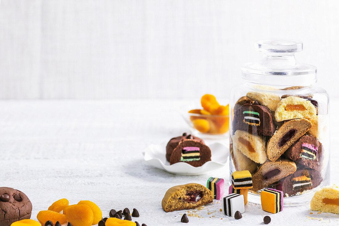 Turkish delight-stuffed ginger cookies, Chocolate allsorts cookies, Apricot coconut cookies