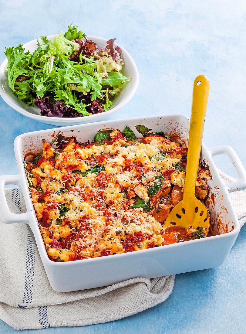 Ricotta, kumara and eggplant bake