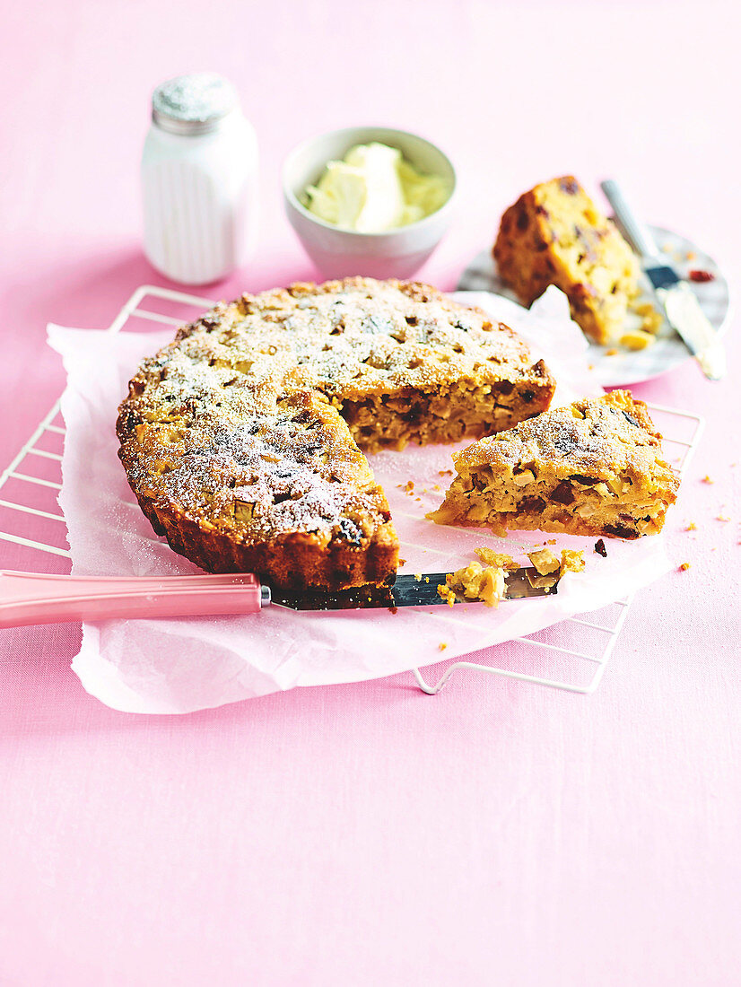 Olive oil, apple and date cake