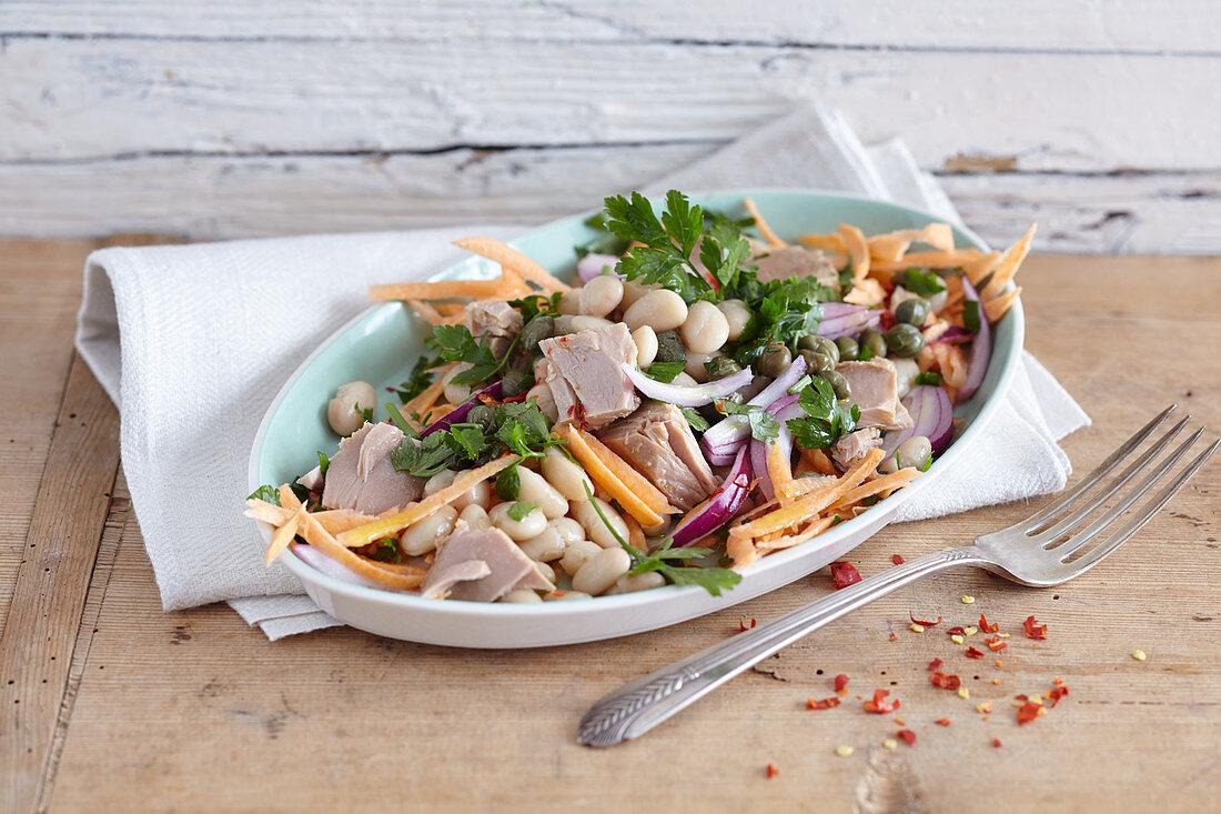 Tuna and sweet potato salad with white beans