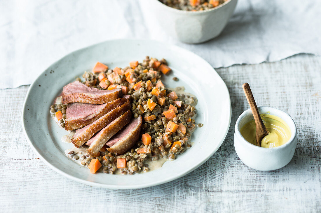 Duck breast with saffron lentils