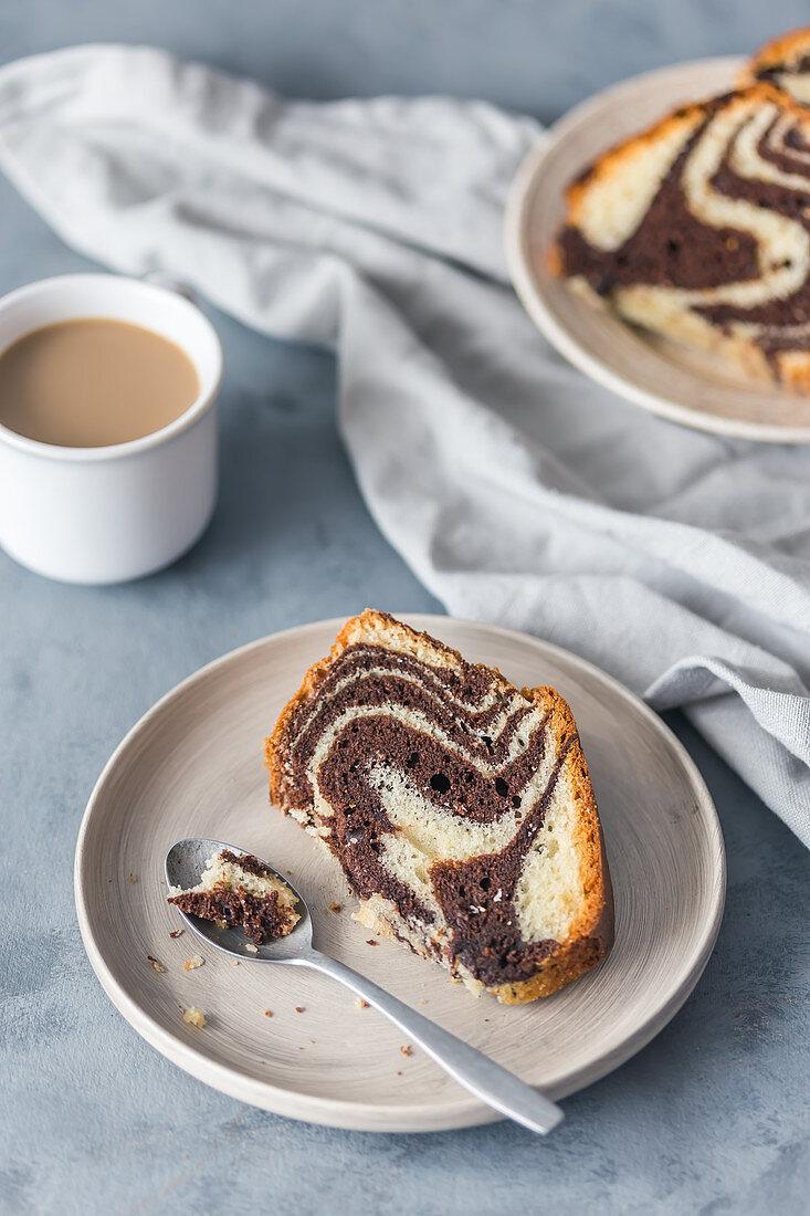 Zebra bundt cake with coffee