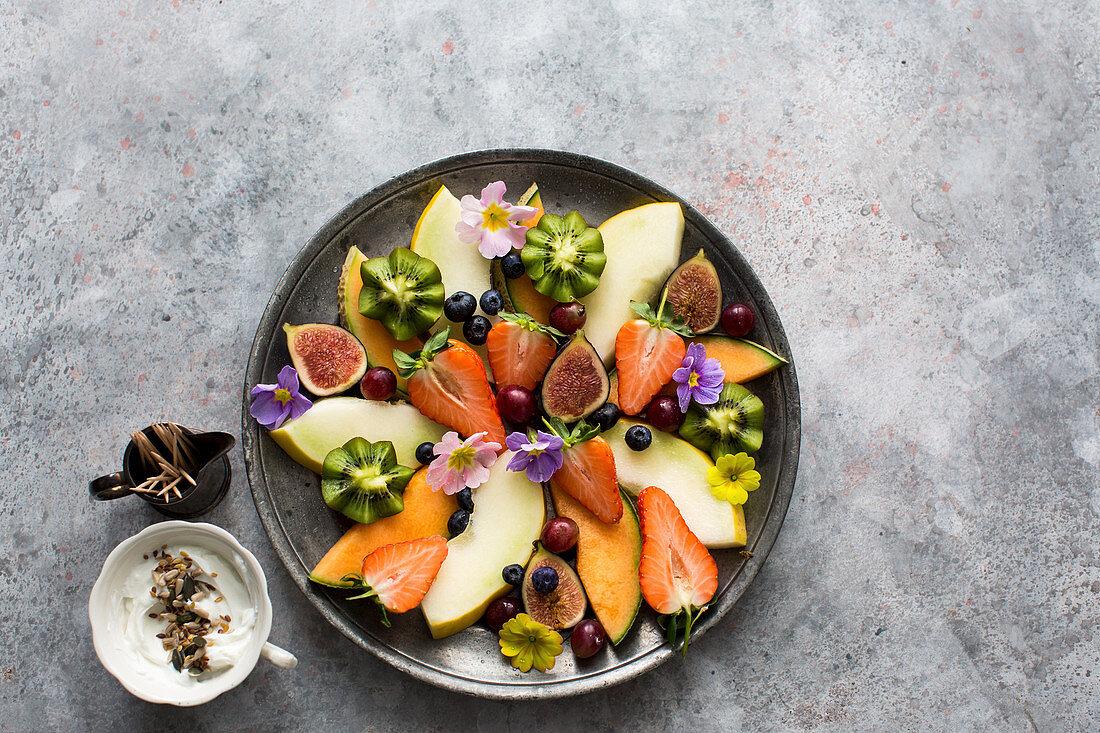 Fruit platter with a natural yogurt dip