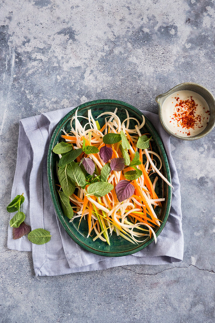 Celeriac and parsnip salad with carrots