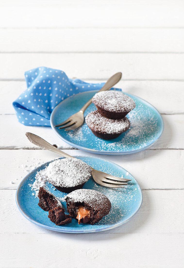 Mini chocolate muffins with a liquid core