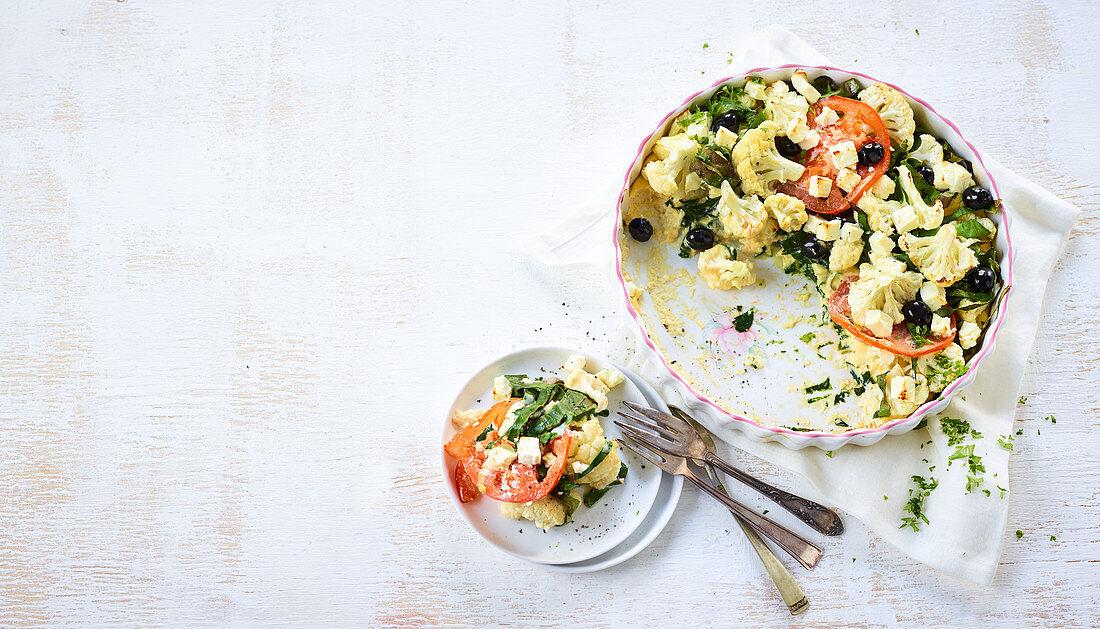 Mediterranean cauliflower gratin with chard