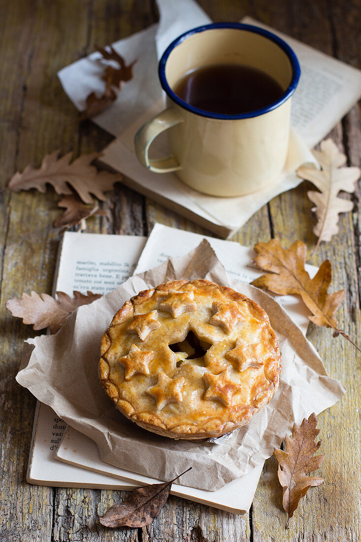 Apple hand pie with coffee