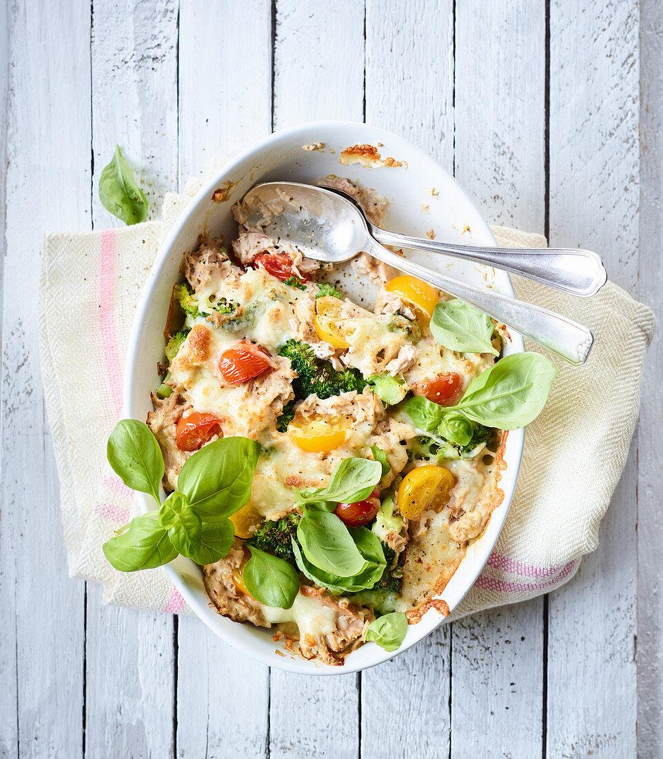Broccoli and tuna bake with basil