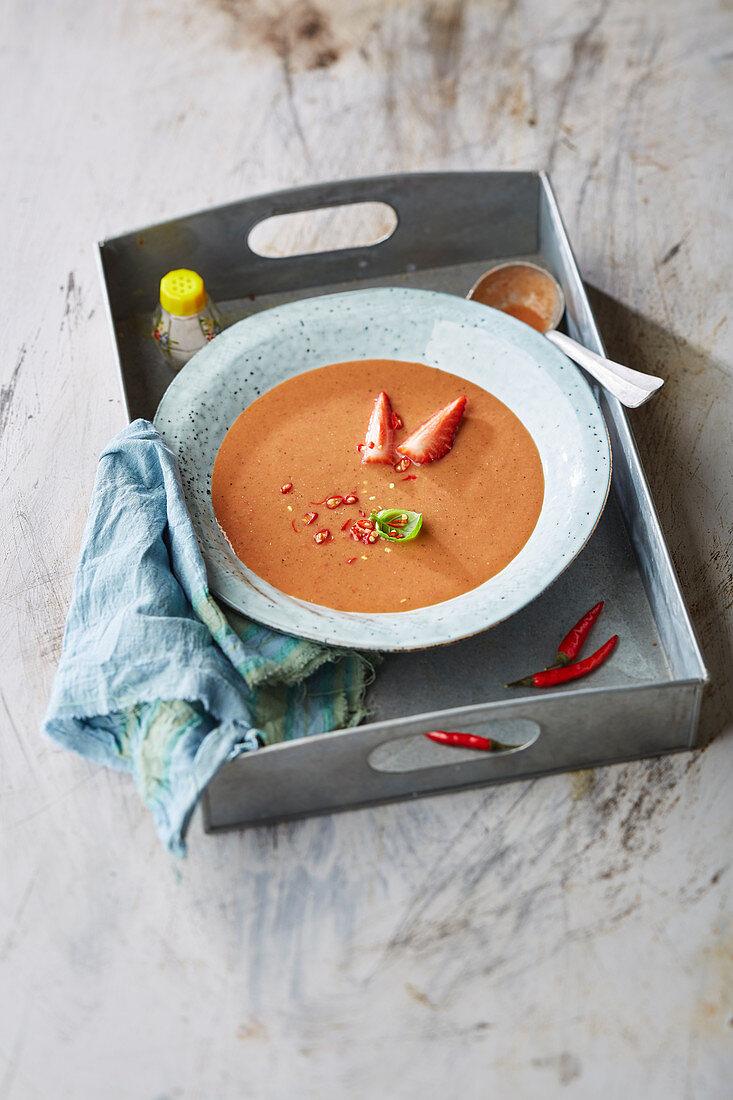 Strawberry and chili gazpacho