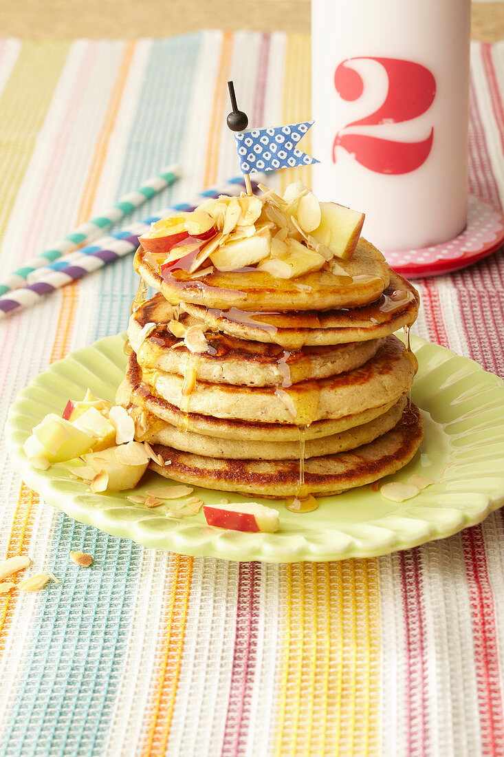 Apple and nut pancakes for children