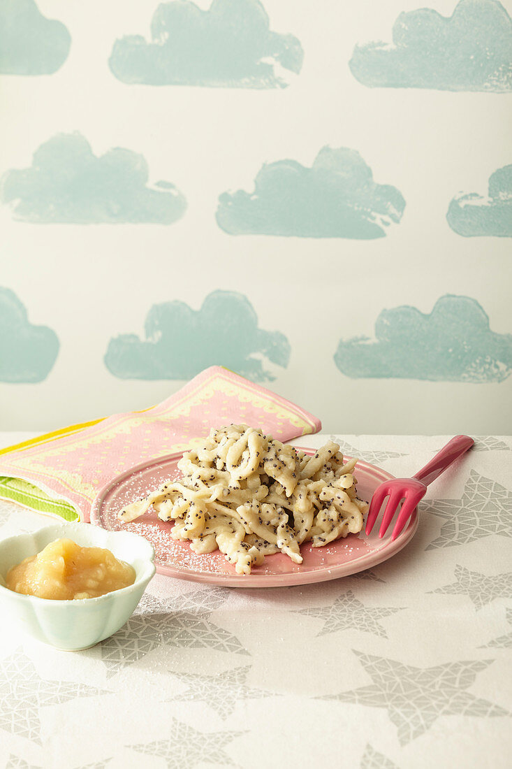 Banana and poppyseed egg noodles with apple sauce