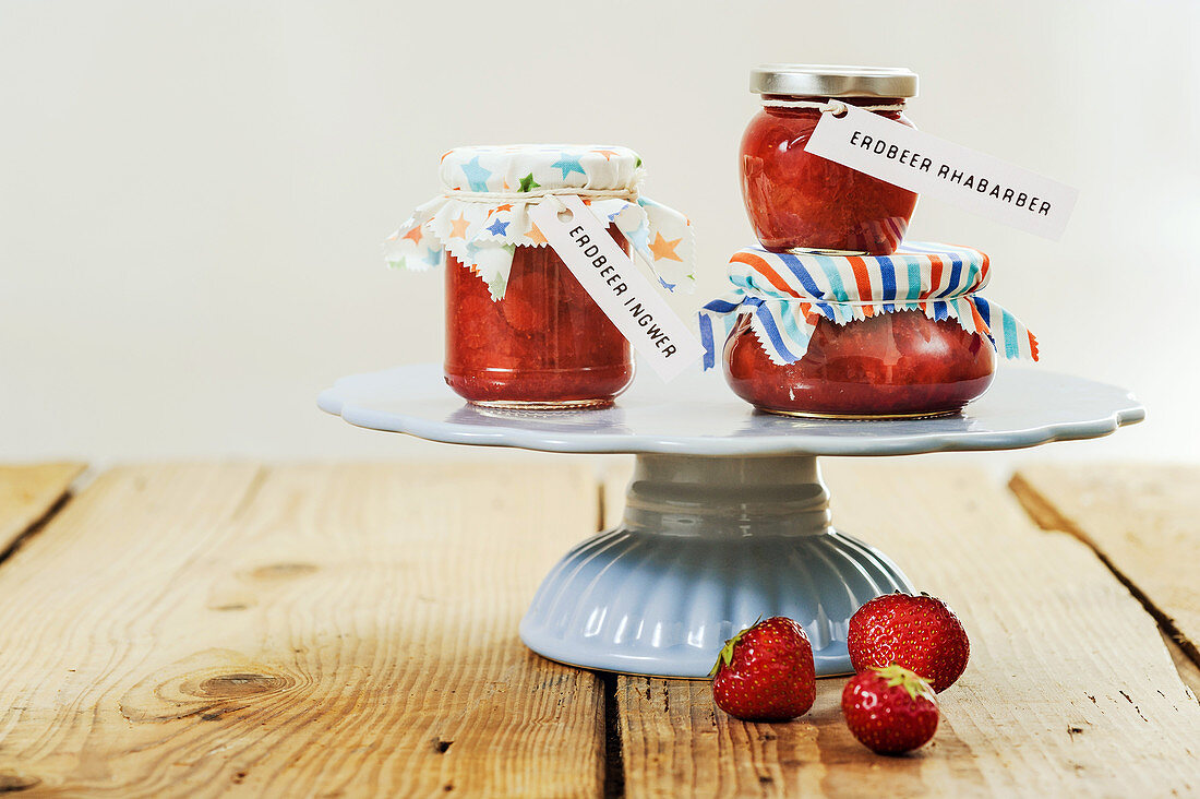Strawberry and ginger jam, and strawberry and rhubarb jam