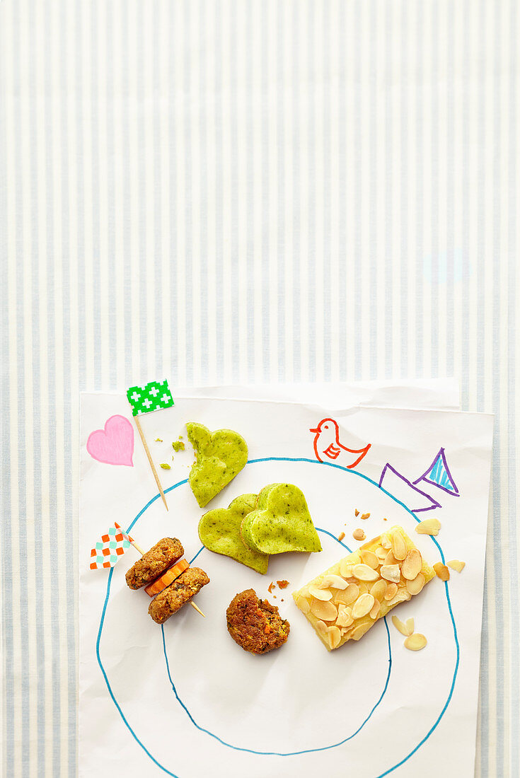 Buckwheat fritters, semonlina slices and matcha biscuits for children