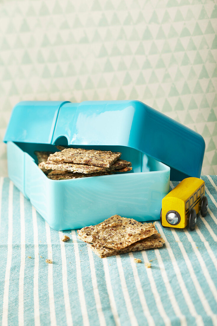 Crispbread with seeds in a lunchbox