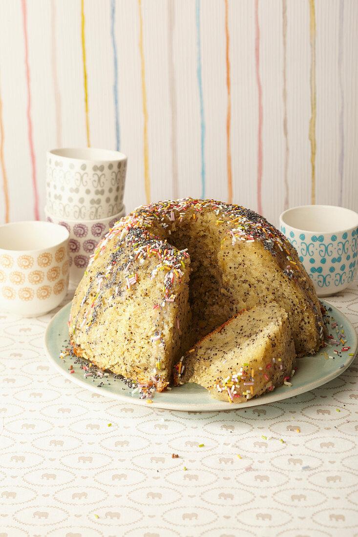 A quark Bundt cake with poppyseeds